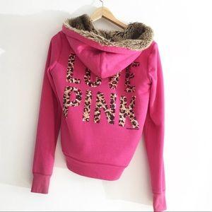 Victoria's Secret Pink Faux Fur Sequin Hoodie